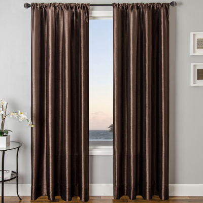 Sedro Solid Faux-Silk Rod-Pocket Curtain Panel