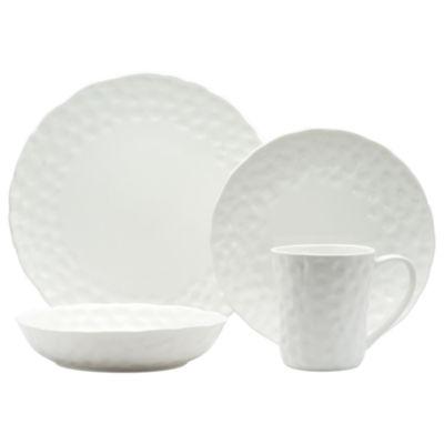 Red Vanilla Marble 16-pc. Round Dinnerware Set