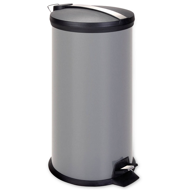 Honey-Can-Do 30-Liter Gray Metal Step Trash Can, GRAY - Trash + Recycling - Trash Cans