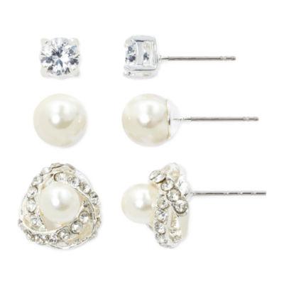 Vieste® Simulated Pearl, Crystal & Knot 3-pr. Stud Earring Set