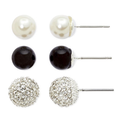 Vieste® Simulated Pearl, Fireball & Black 3-pr. Stud Earring Set