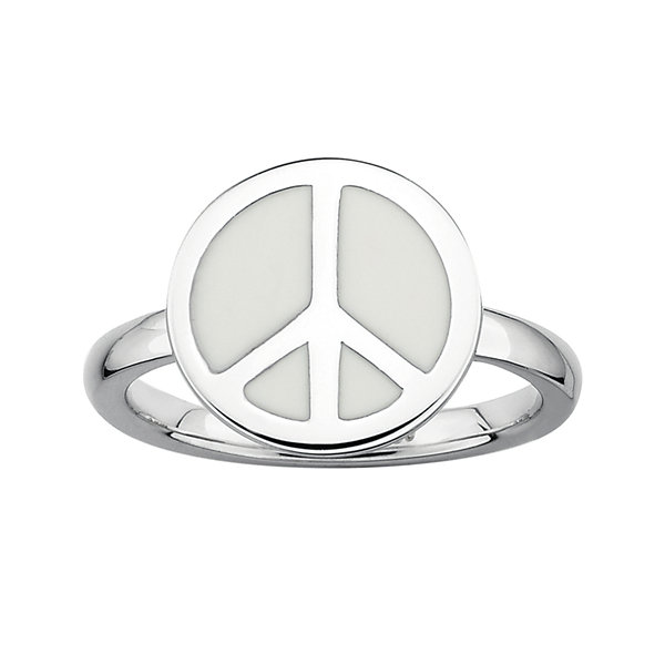 Personally Stackable Sterling Silver White Enamel Peace Ring
