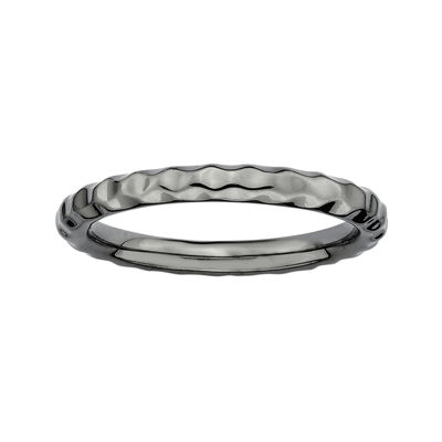 Personally Stackable Black Sterling Silver Hammered Ring