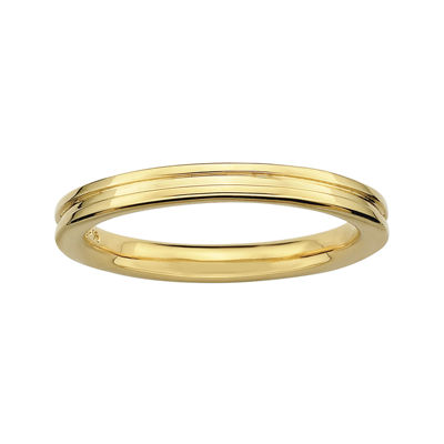 Personally Stackable 18K Yellow Gold Over Sterling Silver Step-Down Ring