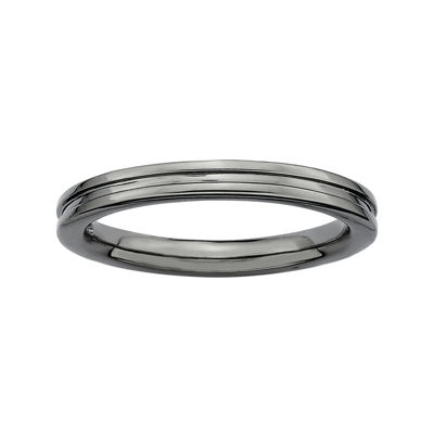 Personally Stackable Black Sterling Silver Step-Down Ring