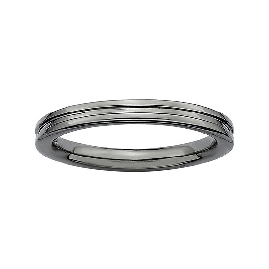 Personally Stackable Black Sterling Silver Step Down Ring