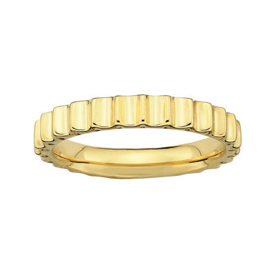 Personally Stackable 18K Yellow Gold Over Sterling Silver Ridged Ring