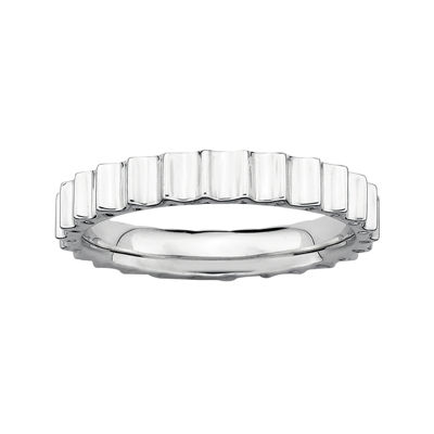 Personally Stackable Sterling Silver Ridged Ring