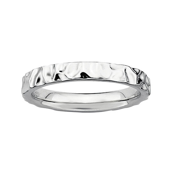 Personally Stackable Sterling Silver Hammered Ring