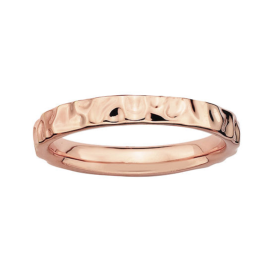 Personally Stackable 18K Rose Gold Over Sterling Silver Hammered Ring