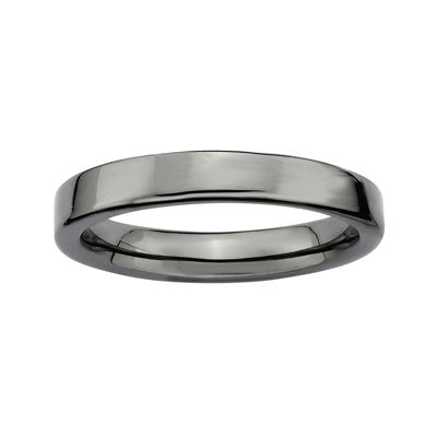 Personally Stackable Black Sterling Silver Square-Edge Ring