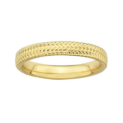 Personally Stackable 18K Yellow Gold Over Sterling Silver Braid Ring