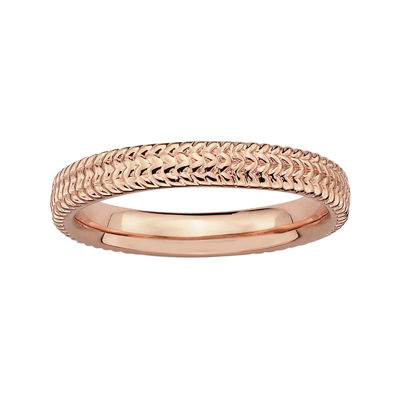 Personally Stackable 14K Rose Gold Over Sterling Silver 3.25mm Braid Ring