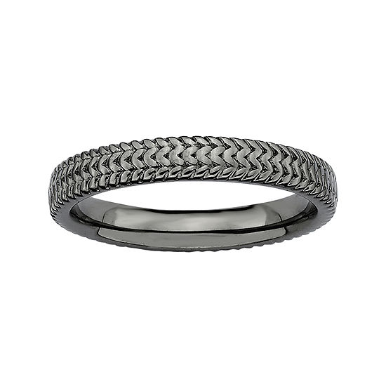 Personally Stackable Black Sterling Silver 3.25mm Braid Ring