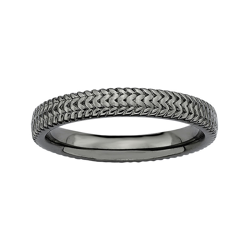 image of Personally Stackable Black Sterling Silver 3.25mm Braid Ring-pp5004710542