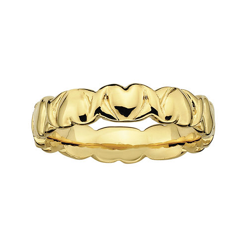Personally Stackable 18K Yellow Gold Over Sterling Silver 4.25mm Heart Ring