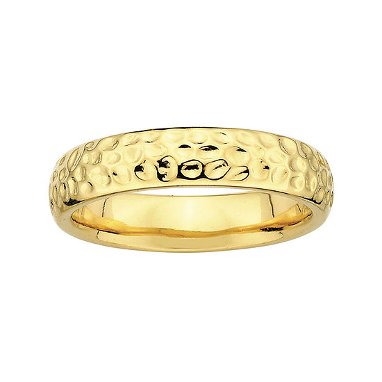 Personally Stackable 18K Yellow Gold Over Sterling Silver Pebbled Ring