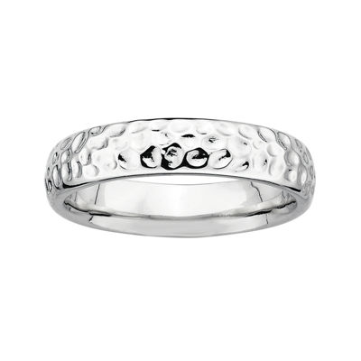 Personally Stackable Sterling Silver Pebbled Ring