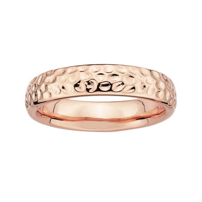 Personally Stackable 18K Rose Gold Over Sterling Silver Pebbled Ring