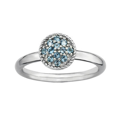 Personally Stackable Genuine Blue Topaz Sterling Silver Stackable Ring