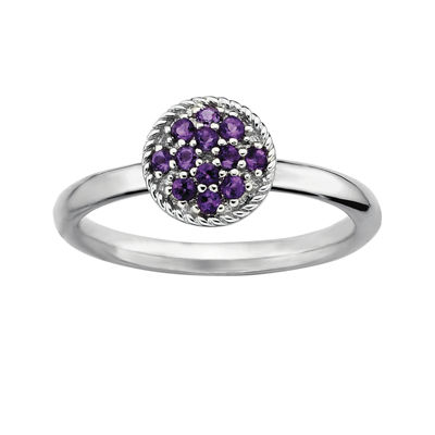 Personally Stackable Genuine Amethyst Sterling Silver Stackable Ring