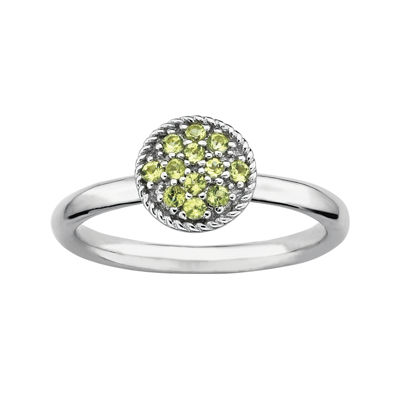 Personally Stackable Genuine Peridot Sterling Silver Stackable Ring