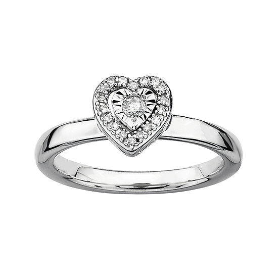 Personally Stackable 1/10 CT. T.W. Diamond Sterling Silver Heart Stackable Ring