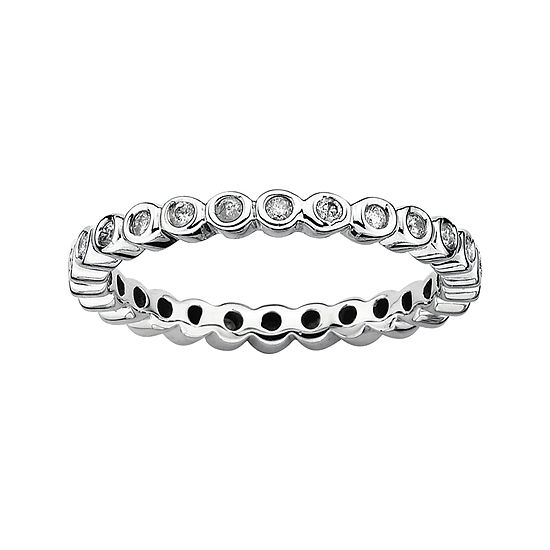 Personally Stackable 1 3 Ct Tw Diamond Sterling Silver Stackable Ring