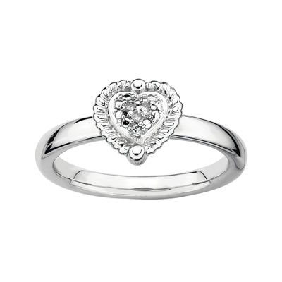 Personally Stackable Diamond-Accent Sterling Silver Heart Ring