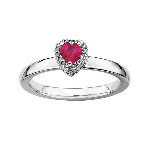 Personally Stackable Diamond-Accent Lab-Created Ruby Heart Ring