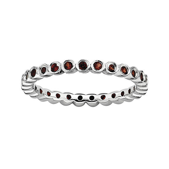 Personally Stackable Genuine Garnet Sterling Silver Ring