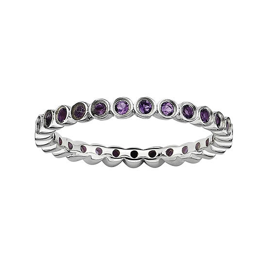 Personally Stackable Genuine Amethyst Sterling Silver Ring