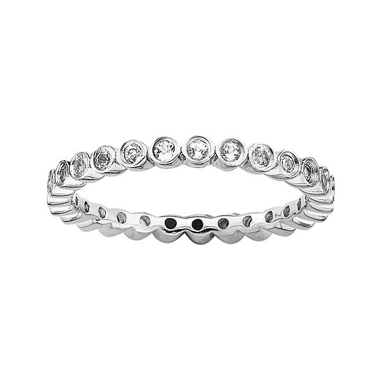 Personally Stackable Genuine White Topaz Sterling Silver Ring