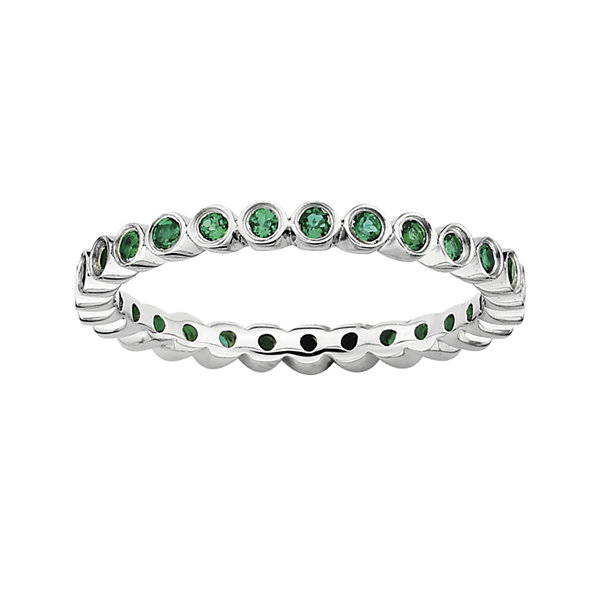 Personally Stackable Lab-Created Emerald Sterling Silver Ring