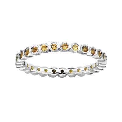 Personally Stackable Genuine Citrine Sterling Silver Ring