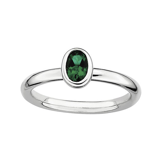 Personally Stackable Oval Lab Created Emerald Ring