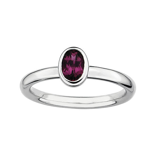 Personally Stackable Oval Genuine Rhodolite Ring