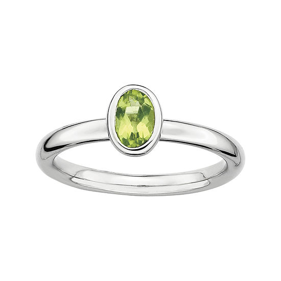 Personally Stackable Oval Genuine Peridot Ring