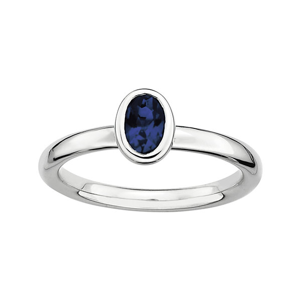 Personally Stackable Oval Lab-Created Blue Sapphire Ring
