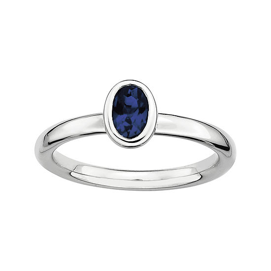 Personally Stackable Oval Lab Created Blue Sapphire Ring