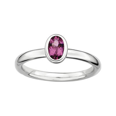 Personally Stackable Oval Genuine Pink Tourmaline Ring