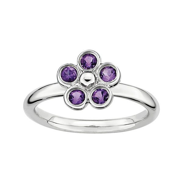 Personally Stackable Genuine Amethyst Flower Ring