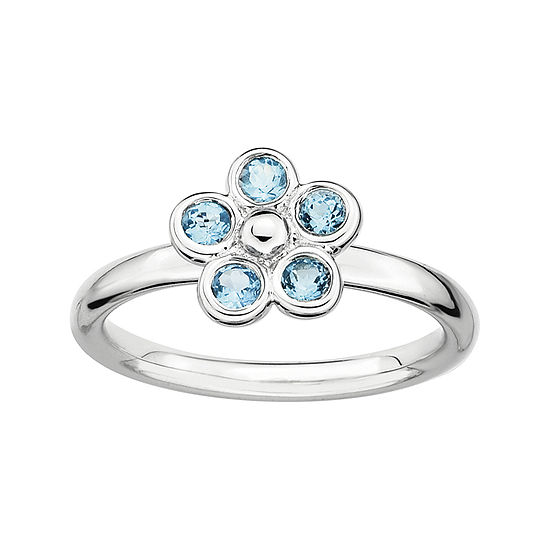 Personally Stackable Genuine Blue Topaz Flower Ring