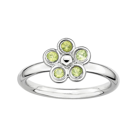 Personally Stackable Genuine Peridot Flower Ring