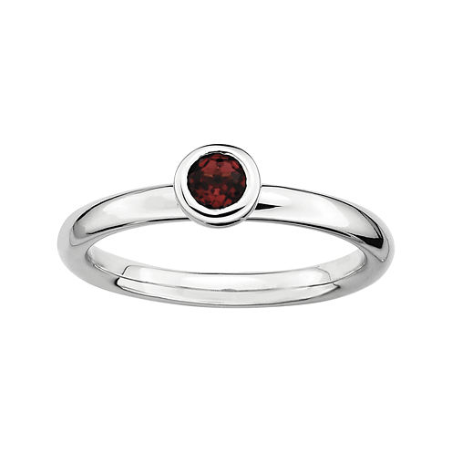 Personally Stackable 4mm Round Genuine Garnet Ring