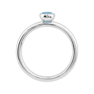 Personally Stackable 4mm Round Genuine Aquamarine Ring