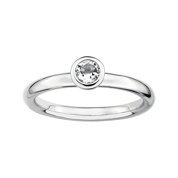 Personally Stackable 4mm Round Genuine White Topaz Ring