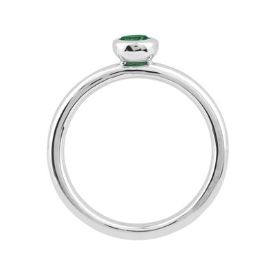 Personally Stackable 4mm Round Lab-Created Emerald Ring