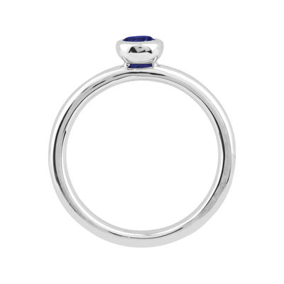 Personally Stackable 4mm Round Lab-Created Blue Sapphire Ring