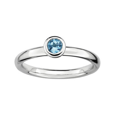 Personally Stackable 4mm Round Genuine Blue Topaz Ring